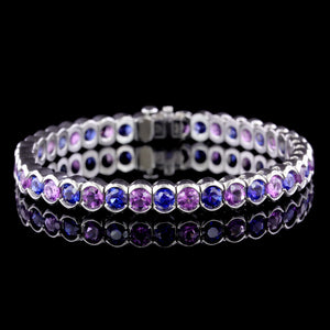 Gemvara Platinum Sapphire and Amethyst Star Trails Bracelet