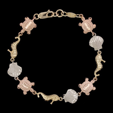 14K Tricolor Gold Sea Life Bracelet