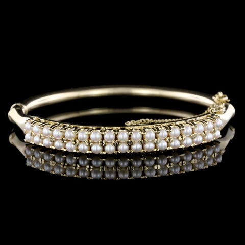 14K Yellow Gold Cultured Pearl Bangle