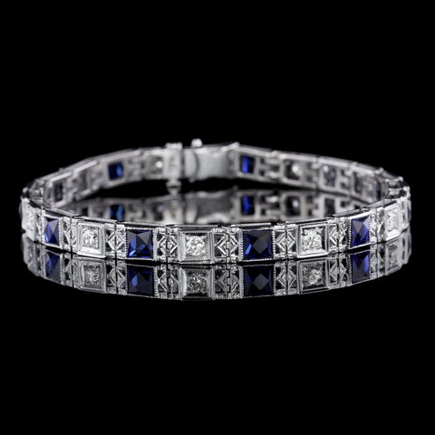 Vintage 18K White Gold Synthetic Sapphire and Diamond Bracelet