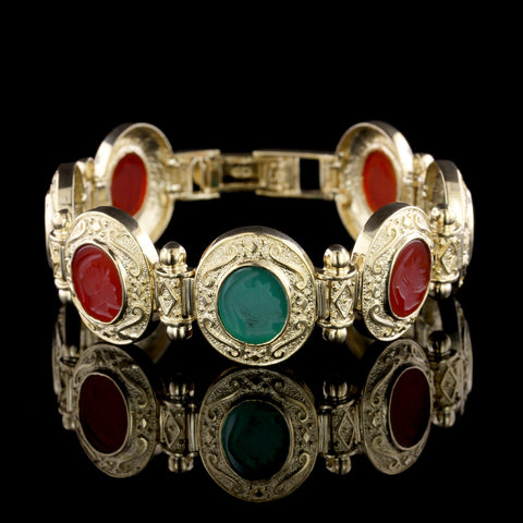 14K Yellow Gold Green Onyx and Carnelian Intaglio Bracelet