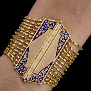 22K Yellow Gold Estate Enamel Bracelet