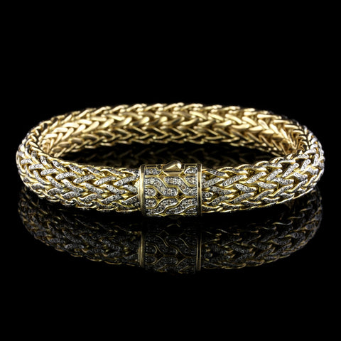 John Hardy 18K Yellow Gold Estate Diamond Classic Chain Bracelet