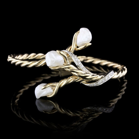 14K Yellow Gold Cultured Baroque Pearl and Diamond Bangle