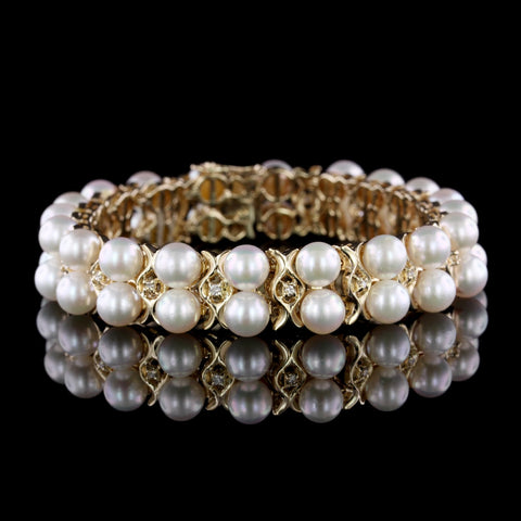 14K Yellow Gold Cultured Pearl and Diamond Bracelet