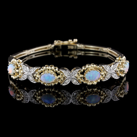14K Two-tone Gold Opal and Diamond Bracelet