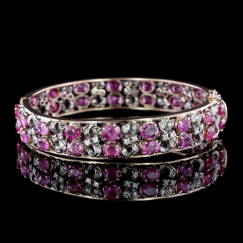 Two-tone Gold Ruby and Diamond Bangle