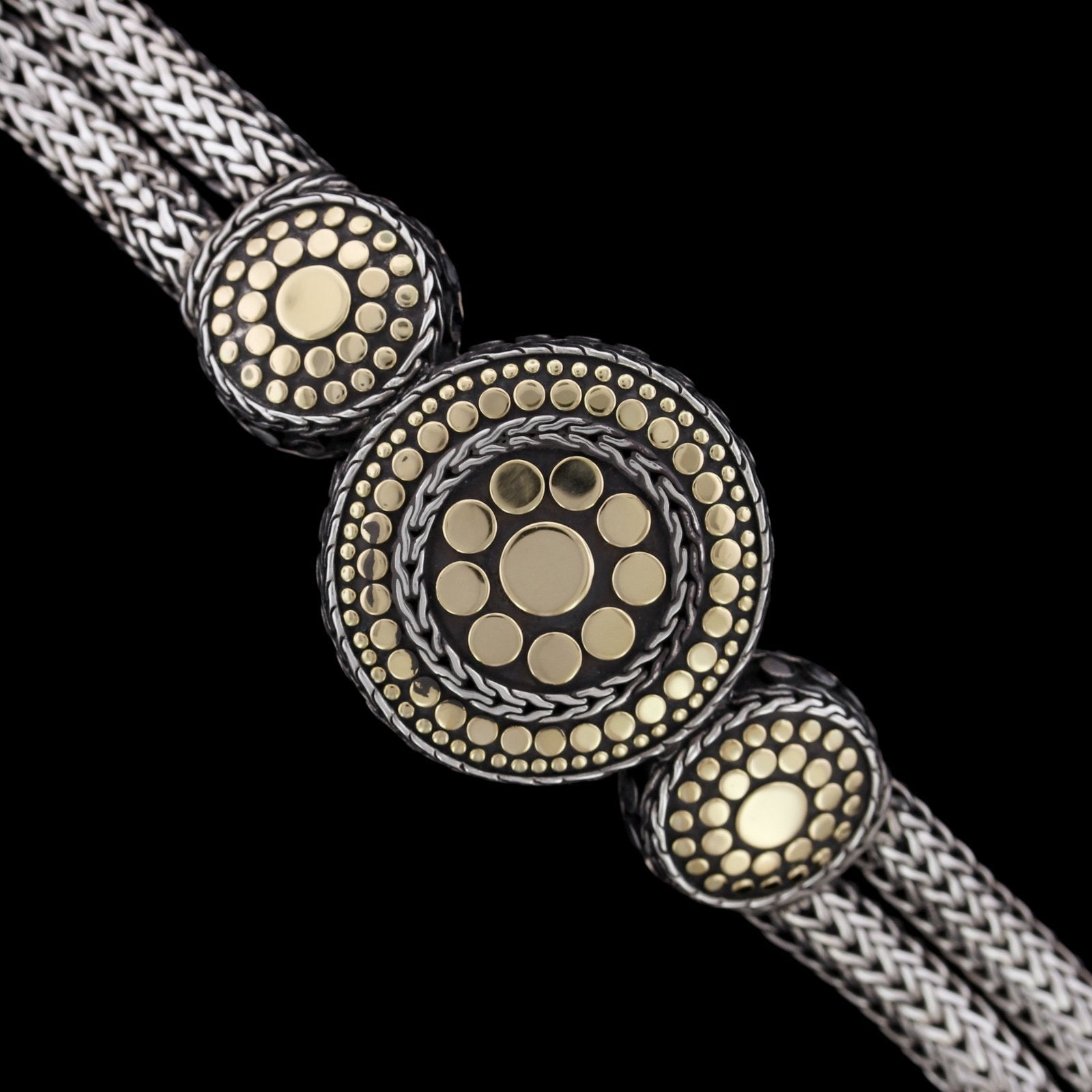 John Hardy Sterling Silver and 18K Yellow Gold Estate Jaisalmer Dot Bracelet