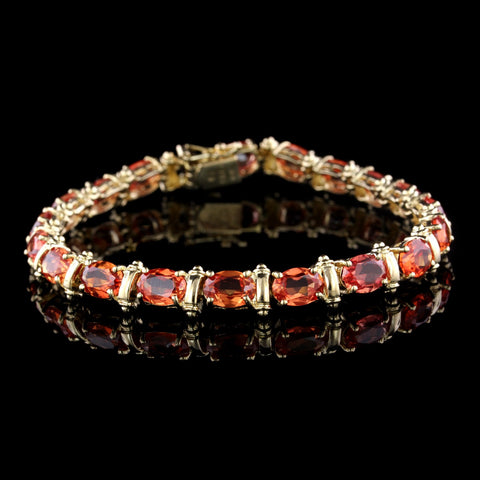 14K Yellow Gold Orange Sapphire Bracelet