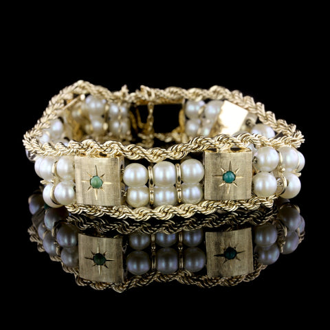 14K Yellow Gold Cultured Pearl and Turquoise Bracelet