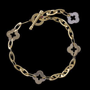 Roberto Coin 18K Yellow Gold Diamond Clover Chic and Shine Bracelet
