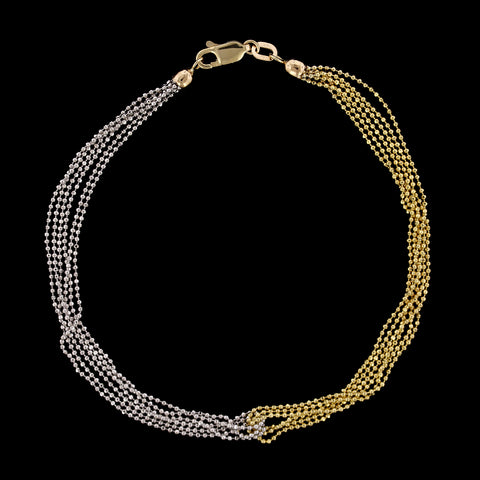 14K Two-tone Gold Estate Six Strand Anklet