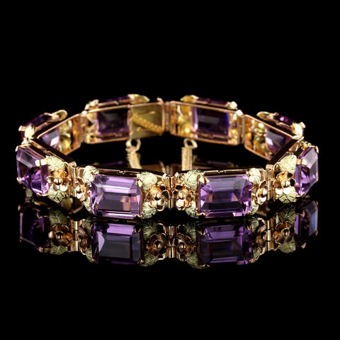 18K Rose and Yellow Gold Amethyst Bracelet