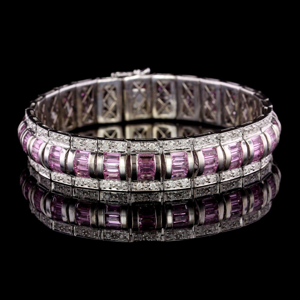 14K White Gold Estate Pink Sapphire and Diamond Bracelet