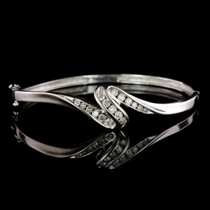 14K White Gold Estate Diamond Bangle