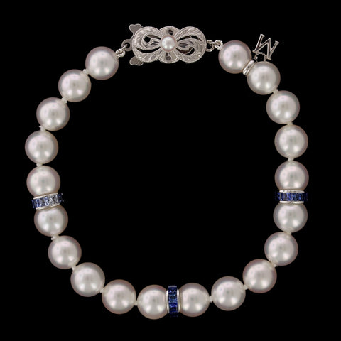 Mikimoto Akoya Cultured Pearl and Sapphire Ocean Bracelet