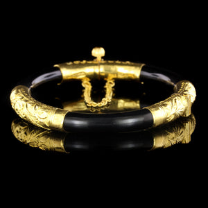 24K Yellow Gold Estate Black Coral Bangle