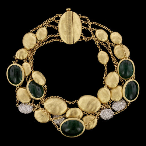 Marco Bicego 18K Yellow Gold Estate Emerald and Diamond Bracelet