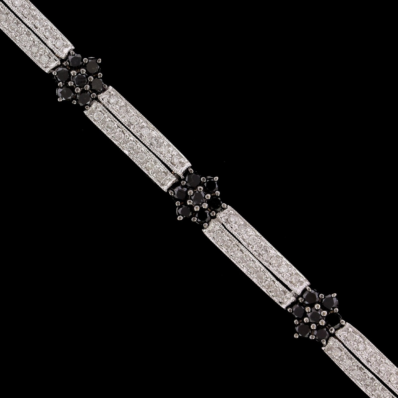 14K White Gold Estate Black Diamond Bracelet