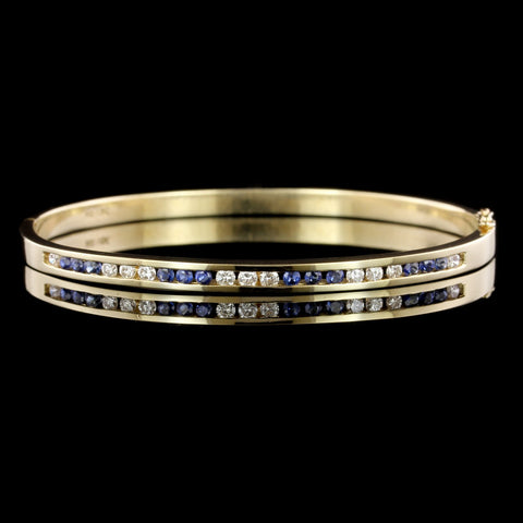 14K Yellow Gold Estate Sapphire and Diamond Bangle