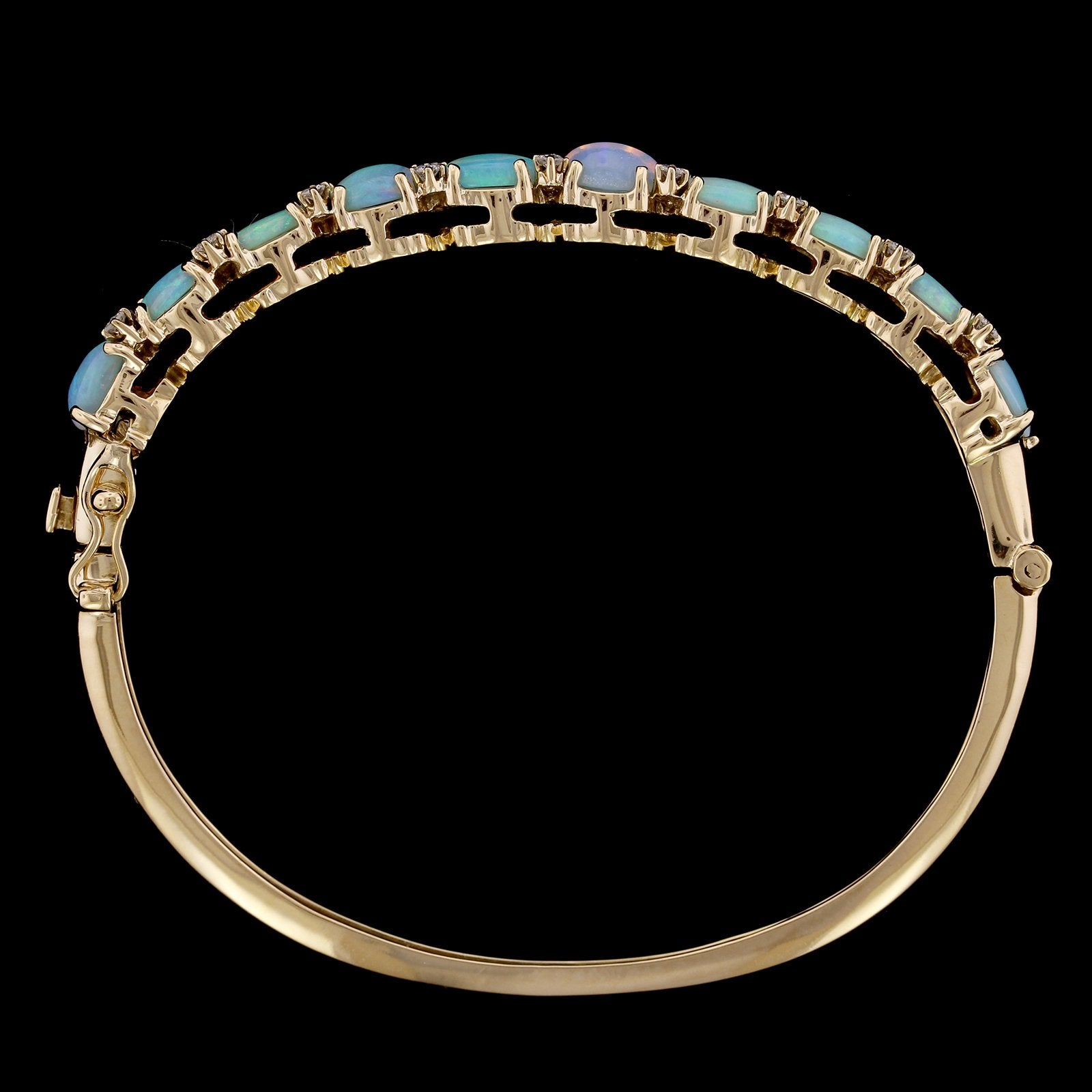 14K Yellow Gold Estate Opal and Diamond Bangle
