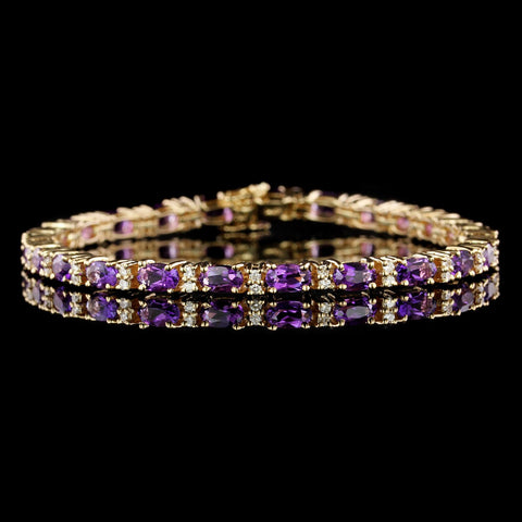 14K Yellow Gold Estate Amethyst and Diamond Bracelet