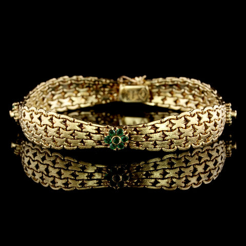 18K Yellow Gold Estate Emerald Bracelet