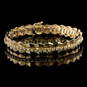 14K Yellow Gold Estate Diamond Bracelet