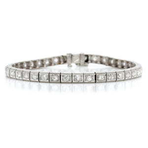 Art Deco Platinum Estate Diamond Line Bracelet