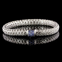 John Hardy Sterling Silver Estate Classic Chain Bracelet with Sapphire Clasp