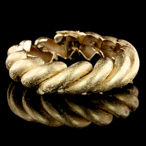 14K Yellow Gold Estate Textured San Marco Bracelet