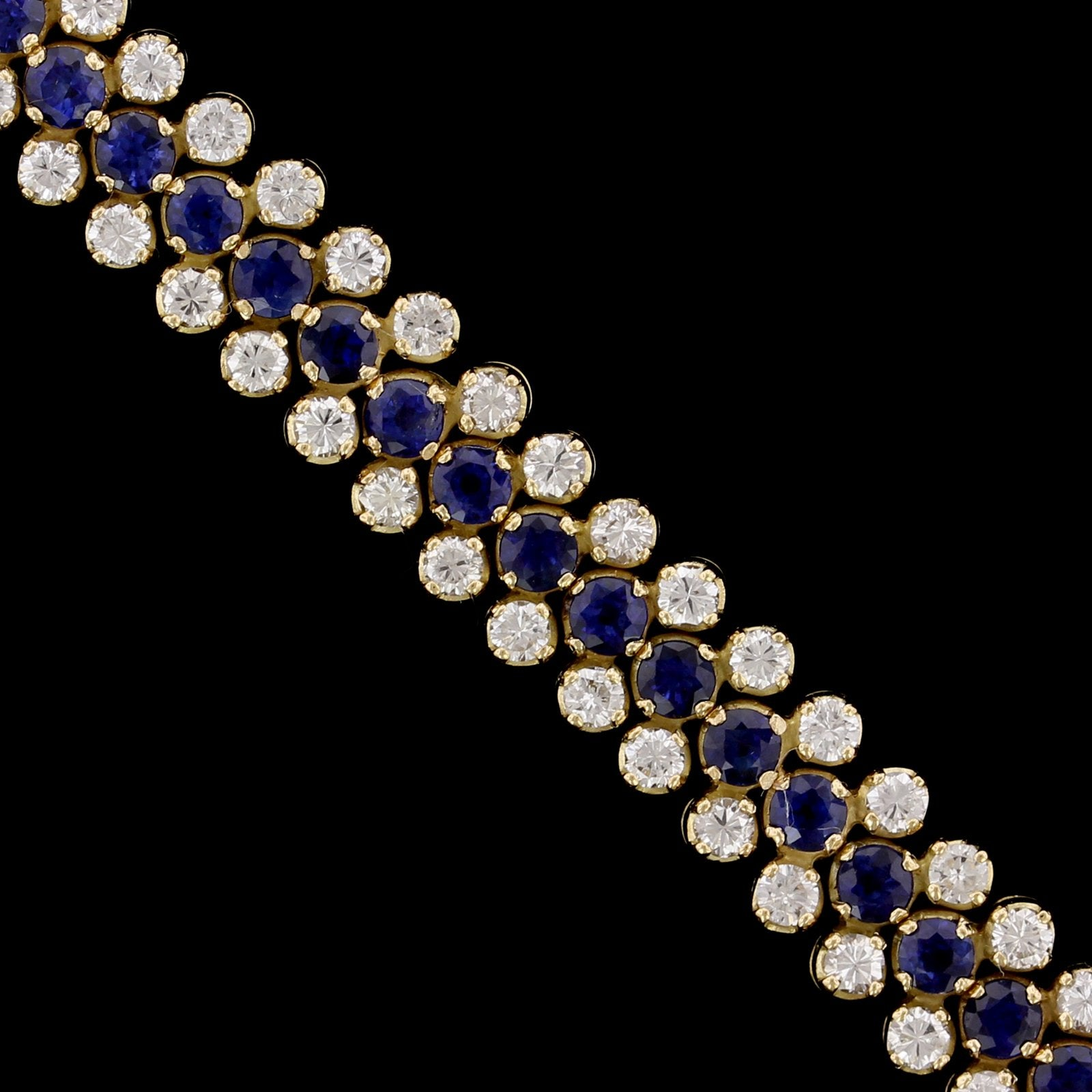 18K Yellow Gold Estate Sapphire and Diamond Bracelet