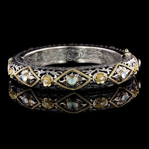 Konstantino Sterling Silver and 18K Yellow Gold Estate Chalcedony and Diamond Bangle