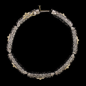 Konstantino Sterling Silver and 18K Yellow Gold Estate Diamond Bracelet