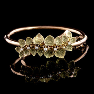 Victorian 14K Rose and Green Gold Cultured Seed Pearl Bangle