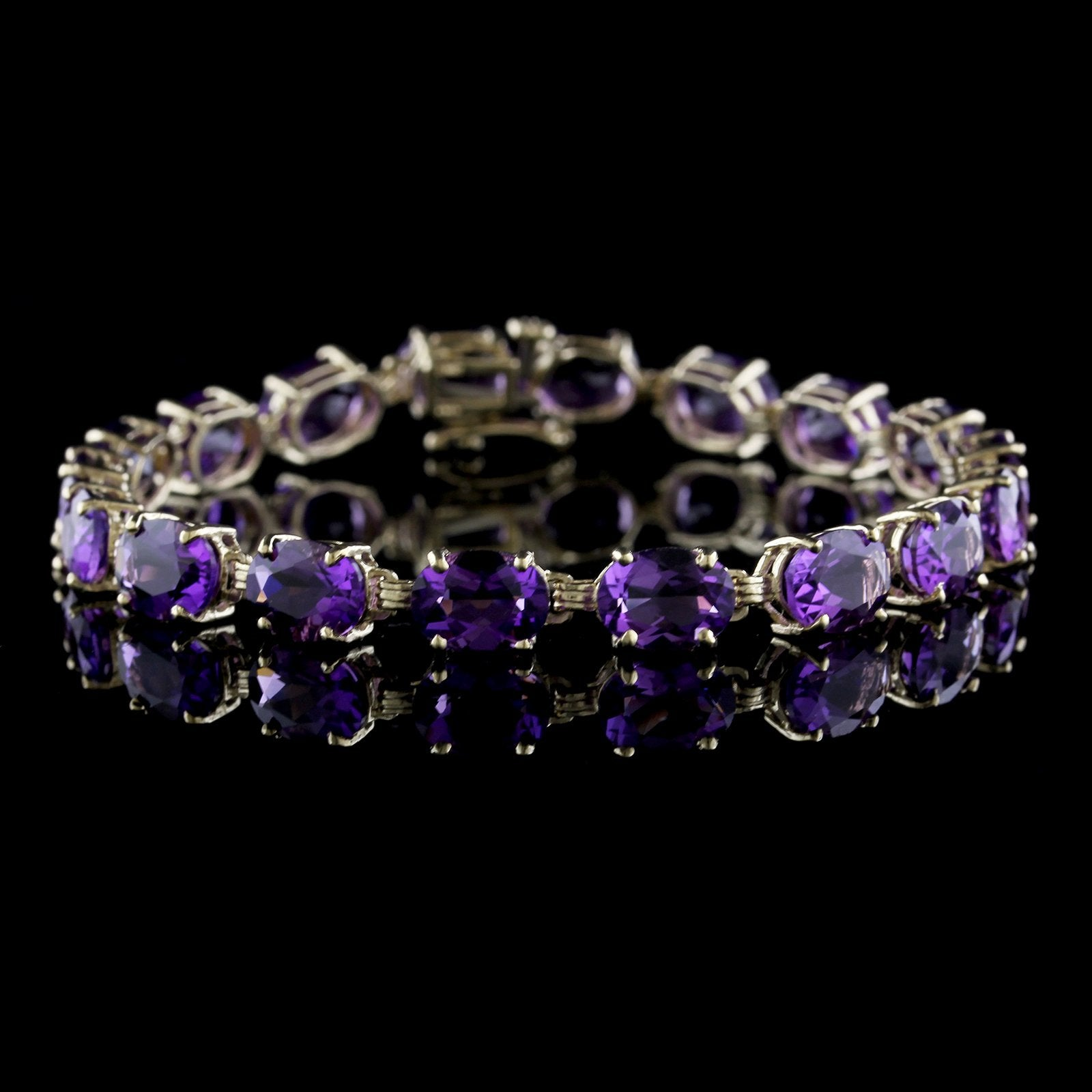 14K Yellow Gold Estate Amethyst Bracelet