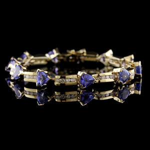 14K Yellow Gold Estate Tanzanite and Diamond Bracelet