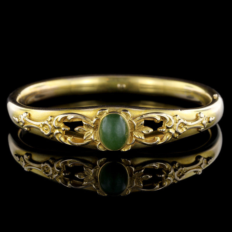 Antique 14K Yellow Gold Nephrite Jade Bangle