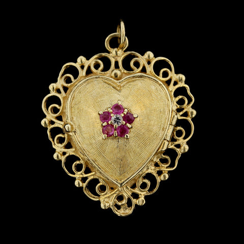 14K Yellow Gold Heart Shaped Locket