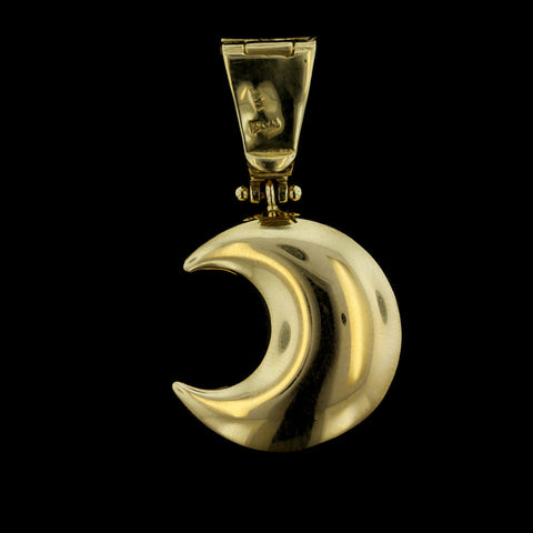 14K Yellow Gold Moon Face Charm