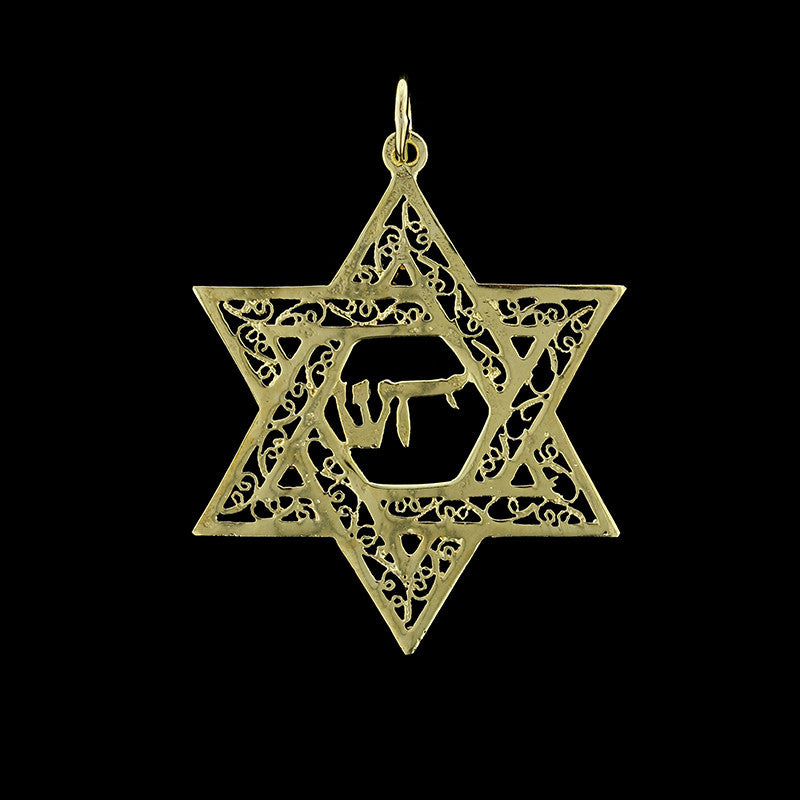 14K Yellow Gold Jewish Star Charm