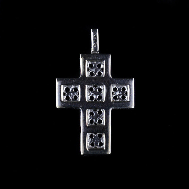 18K White Gold Sapphire and Diamond Cross