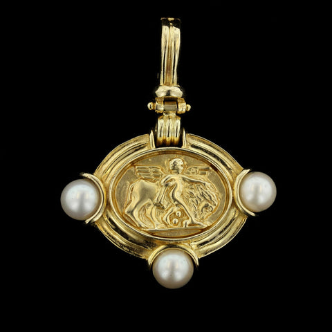 14K Yellow Gold Cultured Pearl Greek Scene Pendant/Enhancer