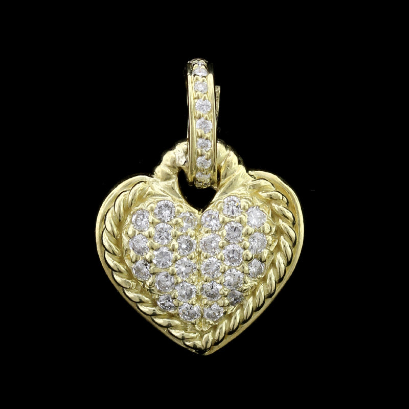 Judith Ripka 18K Yellow Gold Diamond Heart Pendant/Enhancer