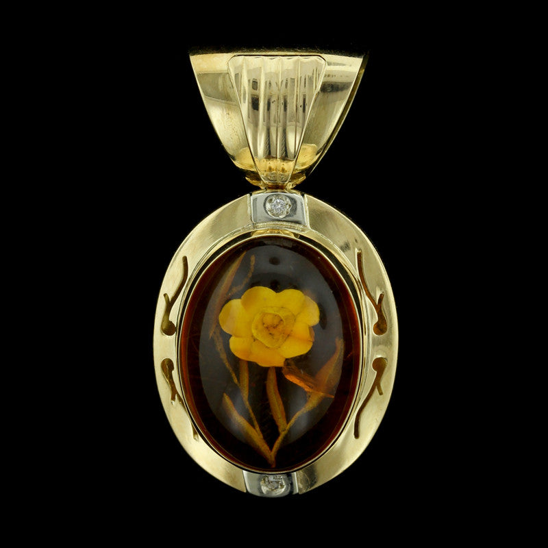 18K Yellow Gold Amber and Diamond Flower Pendant