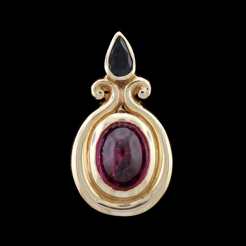 14K Yellow Gold Estate Pink Tourmaline and Sapphire Pendant/Enhancer