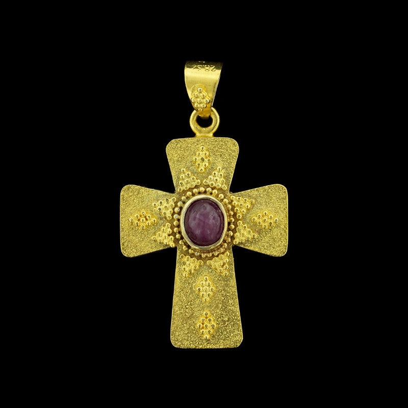 18K Yellow Gold Ruby Cross