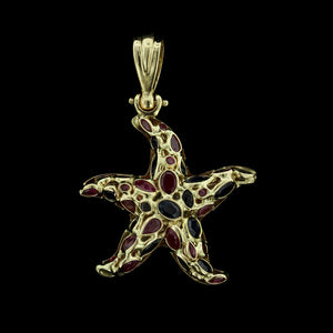 14K Yellow Gold Gem-Set Starfish Pendant