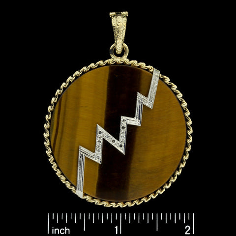 14K Yellow Gold Tiger Eye Disc Enhancer