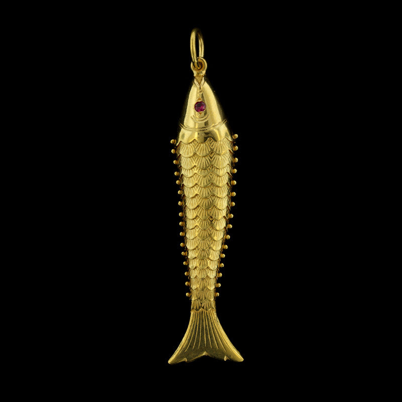 22K Yellow Gold Flexible Fish Pendant